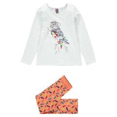 Pyjama long en jersey print chouette et imprimé plumes