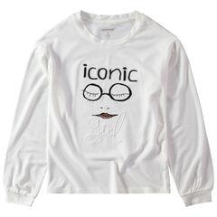 Junior-T-shirt van jerseystof met lange mouwen en print met motief