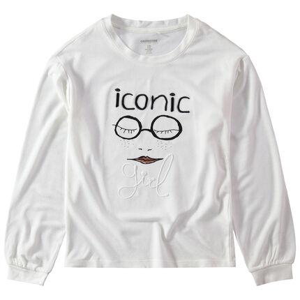 Junior - T-shirt manches longues en jersey avec motif printé