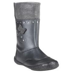 Bottes noires en cuir avec patchs et rivets fantaisie