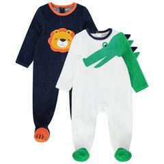 Set met 2 pyjama's van velours met krokodillen- en leeuwenmotief