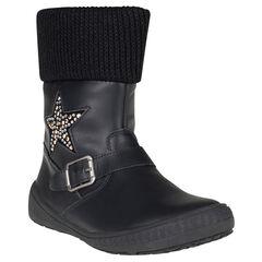 Bottines noires en cuir avec étoile en strass et col en tricot