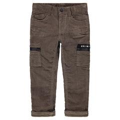 Pantalon en velours milleraies avec poches zippées
