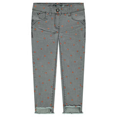 "Slim-fit jeans met crinkle effect en blinkende sterrenprint ""all-over"""