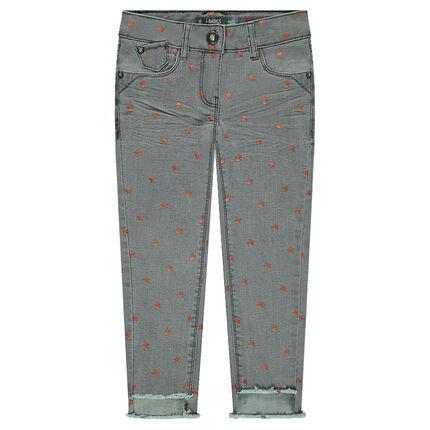 "Slim-fit jeans met crinkle effect en blinkende sterrenprint ""all-over"""