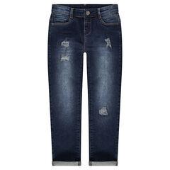 Junior - Jeans effet used et crinkle avec usures fantaisie