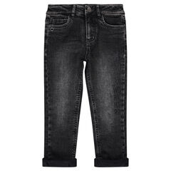 Jeans effet used et crinkle doublé jersey