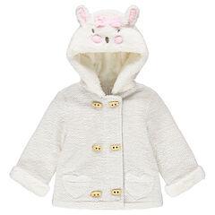 Vest met kap van decoratieve molton met konijnenoren met reliëf