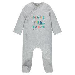 Pyjama uit molton met print met opschriften vooraan
