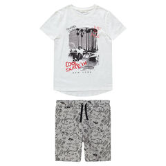 Junior - Ensemble avec tee-shirt print skateboard et bermuda imprimé all-over