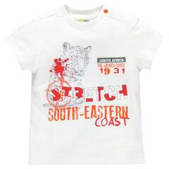 Tee-shirt manches courtes avec print esprit jungle