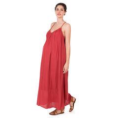 Robe longue de grossesse en crêpe avec bretelles fantaisie