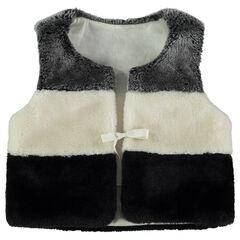Vest van sherpastof met voering van jerseystof