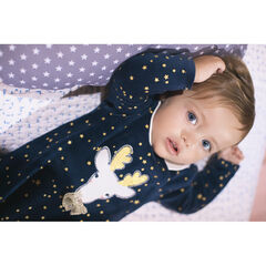 Pyjama van velours met print met sterren en rendier in kerststijl