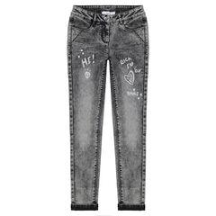 Junior - Jeans effet used gris avec motifs printés