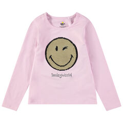 T-shirt manches longues en jersey avec Smiley en sequins magiques