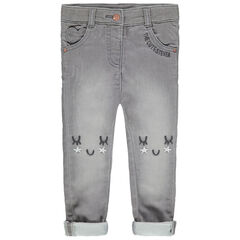 Jeans met used effect, geborduurde details en zakken in hartvorm