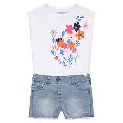 Combi-short effet 2 en 1 avec haut print fleurs et bas en jeans used
