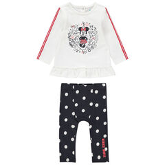 Ensemble van T-shirt met print van Minnie Disney en legging met stippen