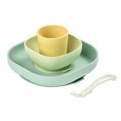 Eetset in siliconen met zuignap - Geel , Beaba