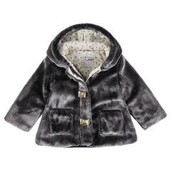 Mantel van sherpa met kap en voering van jerseystof met hoorn