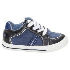 Lage sneakers uit linnen met jeanseffect, veters en ritssluiting