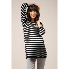 Zwangerschapstrui uit tricot met marineprint