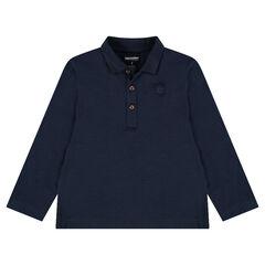 Junior - Polo van slub jerseystof met lange mouwen en print met logo
