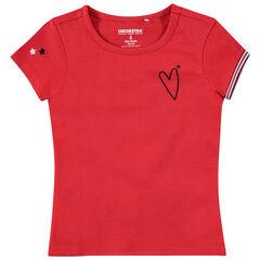 Tee-shirt en jersey rouge avec coeur brodé et étoiles