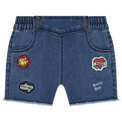 Short van jeans met used effect en ©Smiley badges in officierstijl