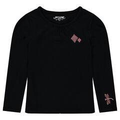 Tee-shirt manches longues en coton avec prints fantaisie