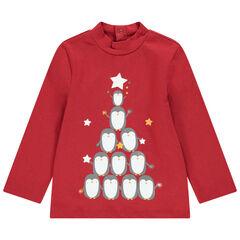 Sous-pull col cheminée en coton bio avec print ours esprit Noël