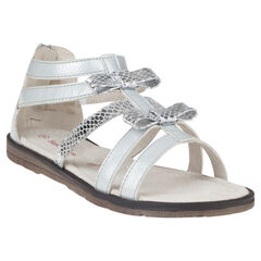 Open schoenen in witte en zilverkleur met ritssluiting met strikken