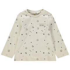 T-shirt manches longues en jersey imprimé all-over Smiley