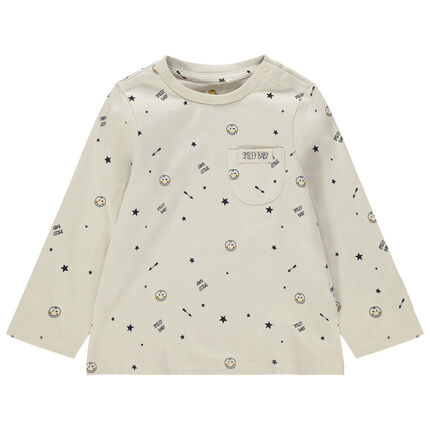 T-shirt manches longues en jersey imprimé all-over Smiley