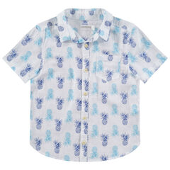 """Hemd met korte mouwen en ananasprint """"all-over"""""""