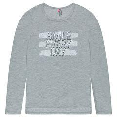 Junior - Lang T-shirt met lange mouwen en print met boodschap