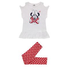 Ensemble van T-shirt met schouders met ajour met print van Disney's Minnie en legging