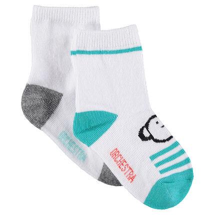 Set met 2 paar bijpassende sokken met dieren van jacquard