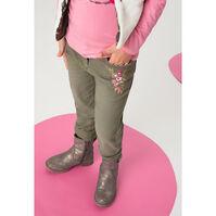 Jeans met used-effect in kaki en geborduurde bloemen