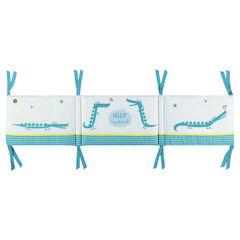 Tour de lit en popeline de coton ouatiné motif crocodile