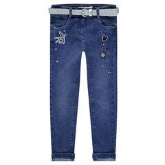 Slim-fit jeans met used effect en afneembare riem met pailletjes en borduurwerk
