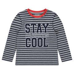 Gestreept T-shirt met lange mouwen en print met opschrift