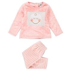 Pyjama van sherpastof en velours met opgestikte ©Smiley en contrasterende strepen