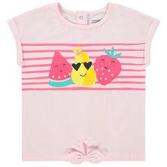 T-shirt manches courtes en coton bio print fruits pailletés , Orchestra