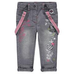 Jeans effet used et crinkle avec bretelles amovibles et motifs floraux
