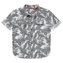 Junior - Hemd met korte mouwen en plantenprint