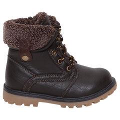 f2d9917a9a1 Laarzen met ledereffect en namaakbont bovenaan