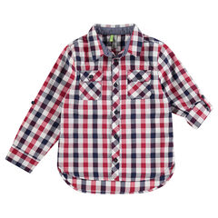 Hemd met lange mouwen, contrasterende ruitjes en zakken