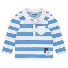 Polo manches longues en jersey avec bandes contrastées